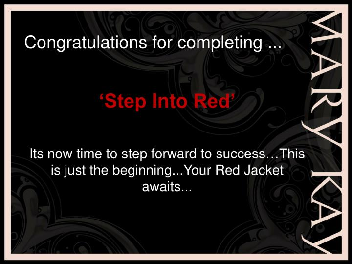 Congratulations for completing ...
