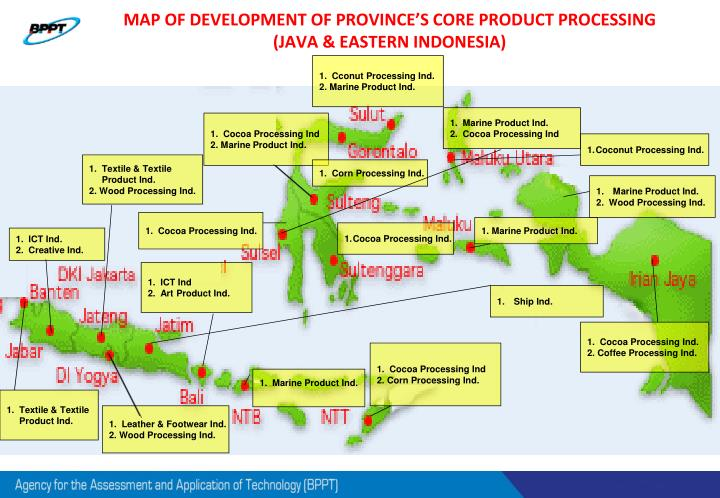 MAP OF DEVELOPMENT OF PROVINCE'S CORE PRODUCT