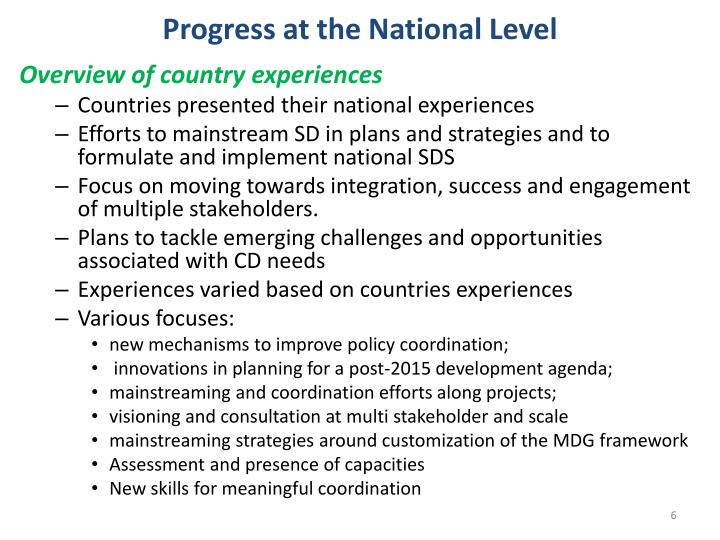 Progress at the National Level