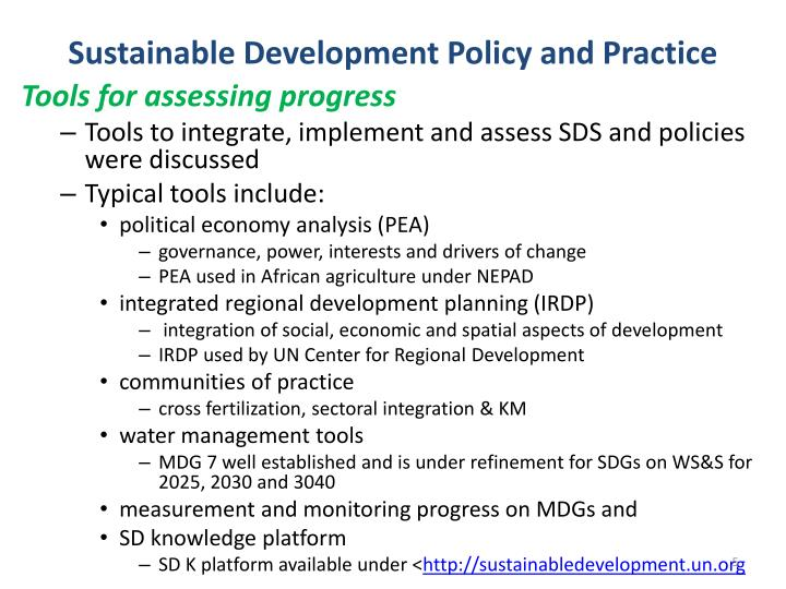 Sustainable Development Policy and Practice