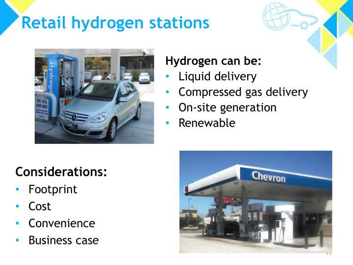 Retail hydrogen stations