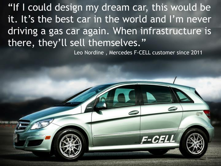 """If I could design my dream car, this would be it. It's the best car in the world and I'm never driving a gas car again. When infrastructure is there, they'll sell themselves."""