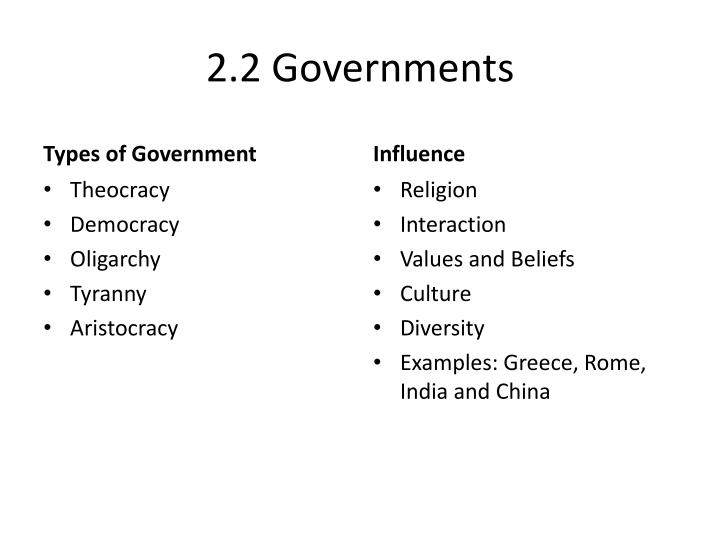 2.2 Governments