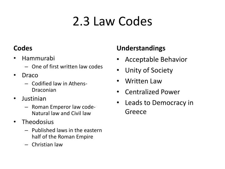 2.3 Law Codes