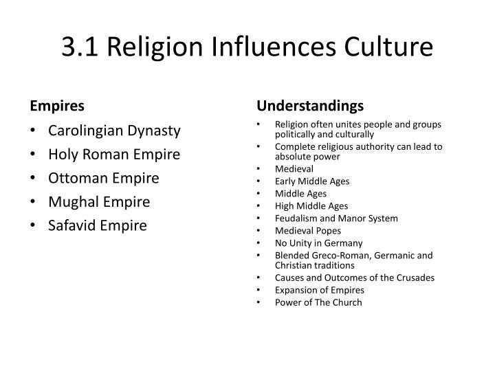 3.1 Religion Influences Culture