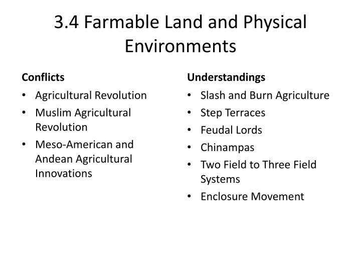 3.4 Farmable Land and Physical Environments