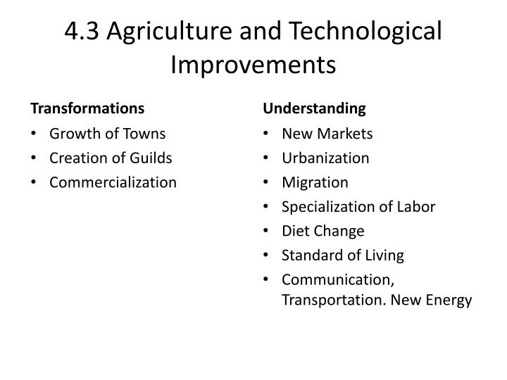 4.3 Agriculture and Technological Improvements