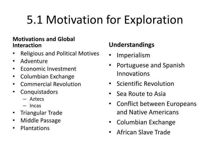 5.1 Motivation for Exploration