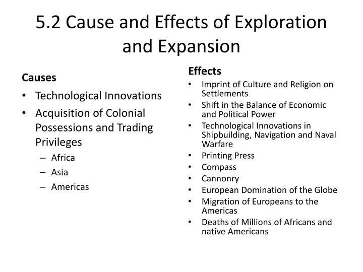 5.2 Cause and Effects of Exploration and Expansion