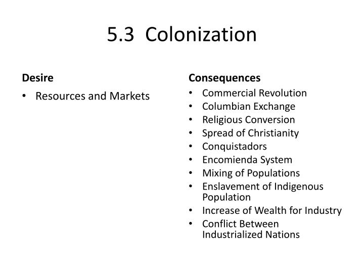 5.3  Colonization