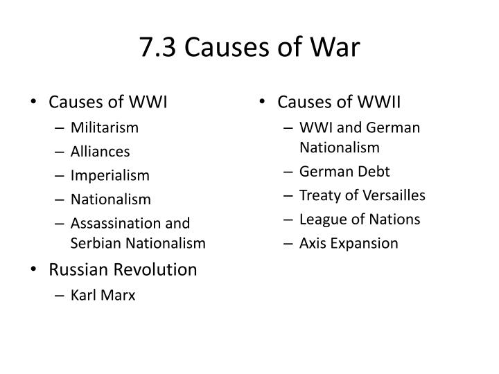 7.3 Causes of War