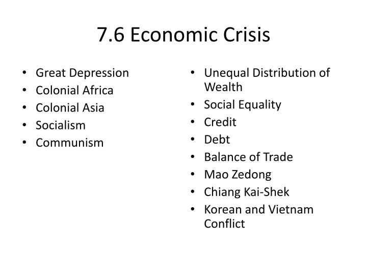 7.6 Economic Crisis