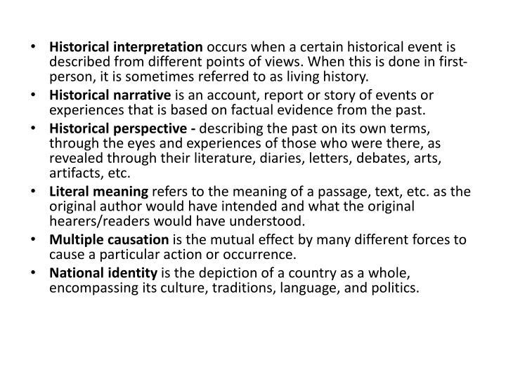 Historical interpretation