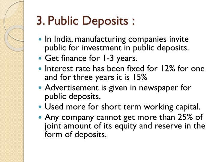 3. Public Deposits :