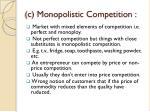c monopolistic competition