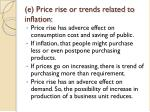 e price rise or trends related to inflation