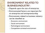 environment related to business industry