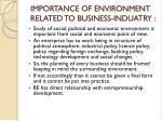 importance of environment related to business induatry