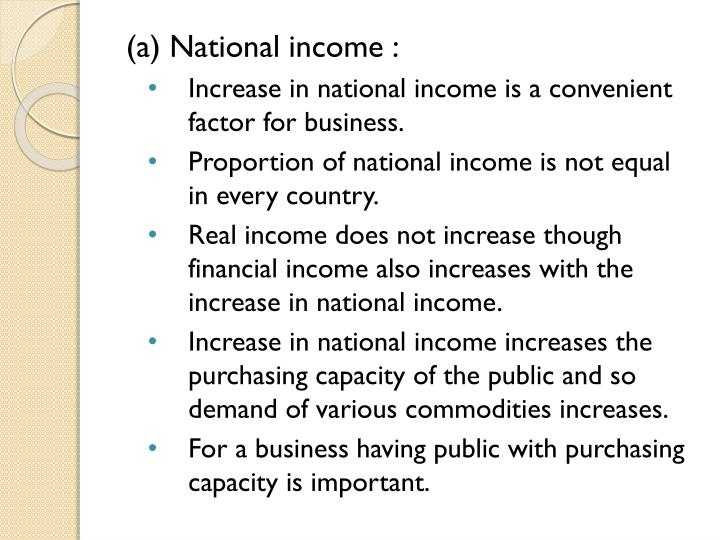 (a) National income :
