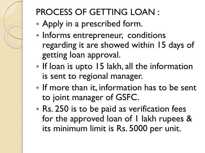 PROCESS OF GETTING LOAN :