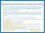 apprenticeships internships assistance