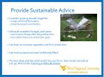 provide sustainable advice