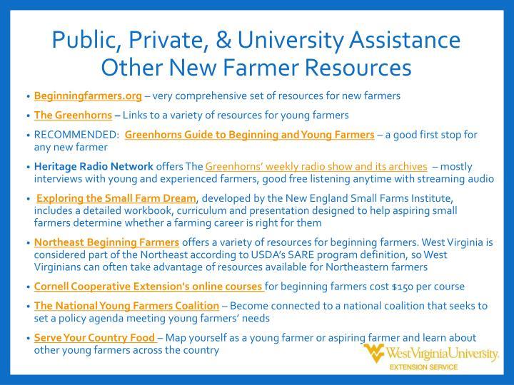 Public, Private, & University Assistance