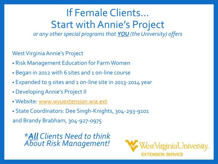 If Female Clients…