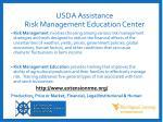 usda assistance risk management education center