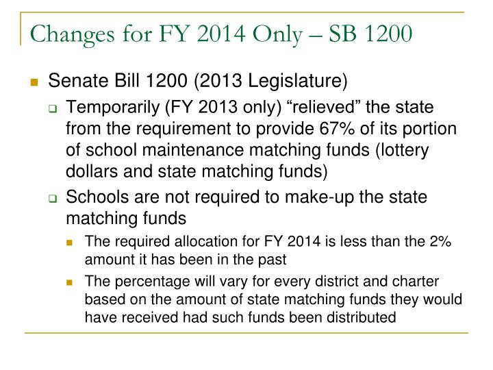 Changes for FY 2014 Only – SB 1200