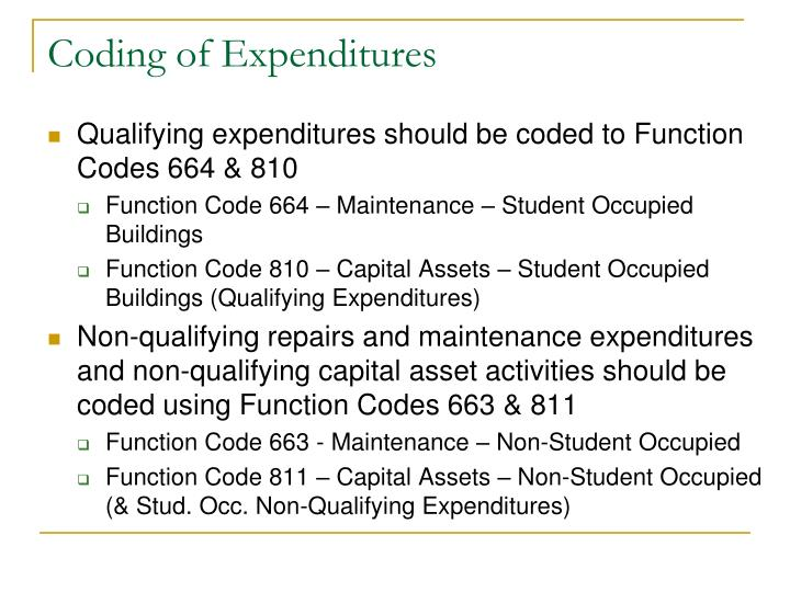 Coding of Expenditures