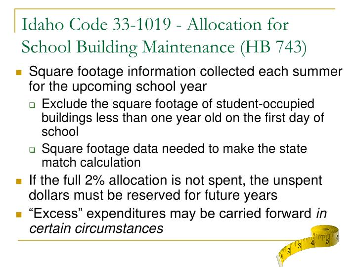 Idaho Code 33-1019 - Allocation for School Building Maintenance (HB 743)