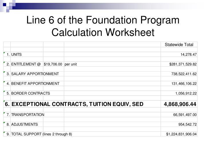 Line 6 of the Foundation Program Calculation Worksheet