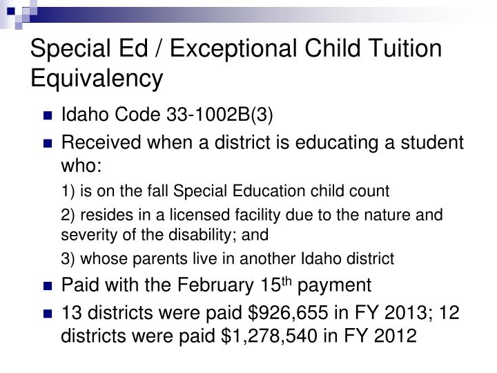 Special Ed / Exceptional Child Tuition Equivalency