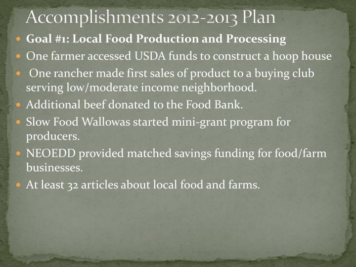 Accomplishments 2012-2013 Plan