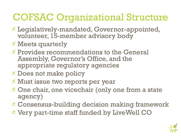 COFSAC Organizational Structure