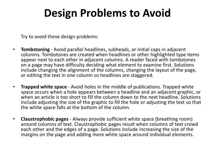 Design Problems to Avoid