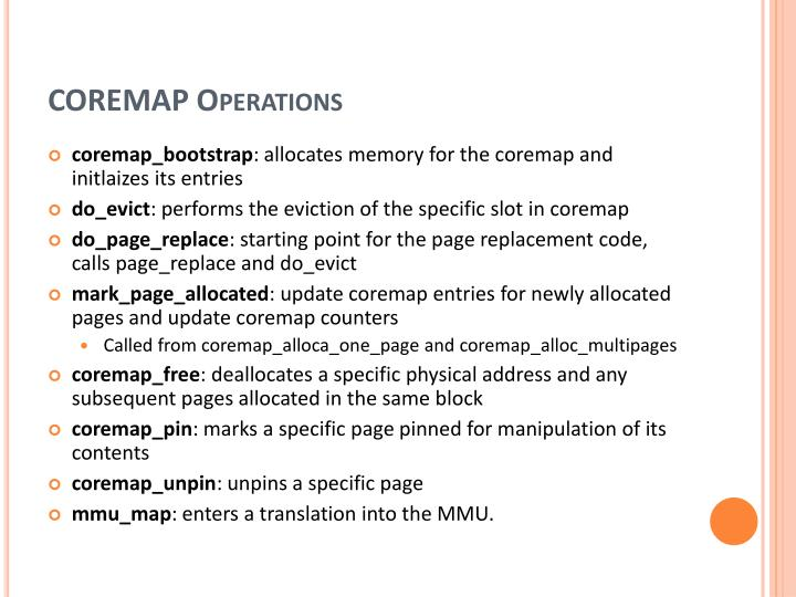 COREMAP Operations