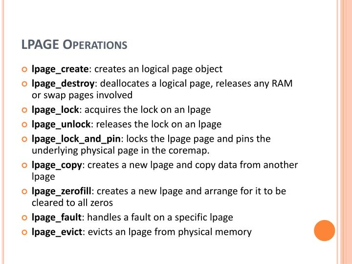 LPAGE Operations