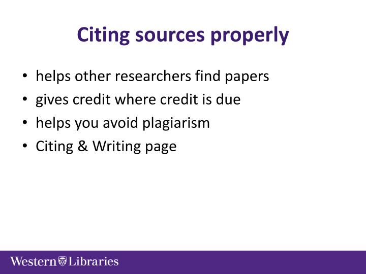 Citing sources properly