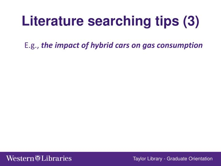 Literature searching tips