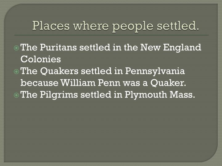 Places where people settled