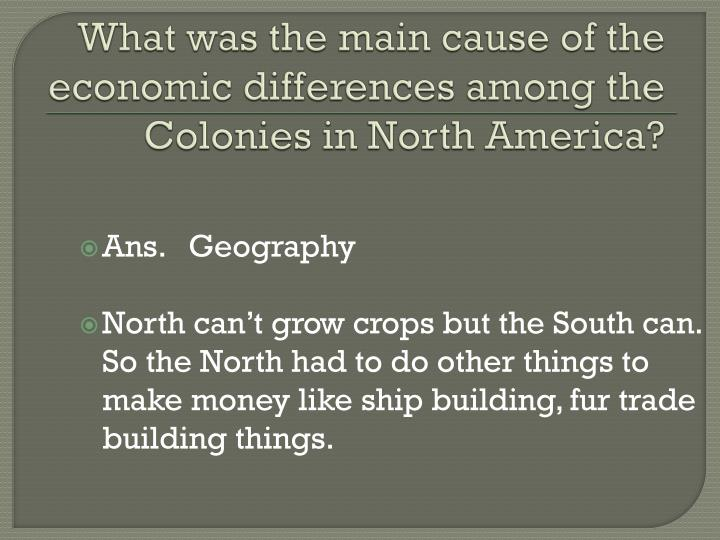 What was the main cause of the economic differences among the Colonies in North America?
