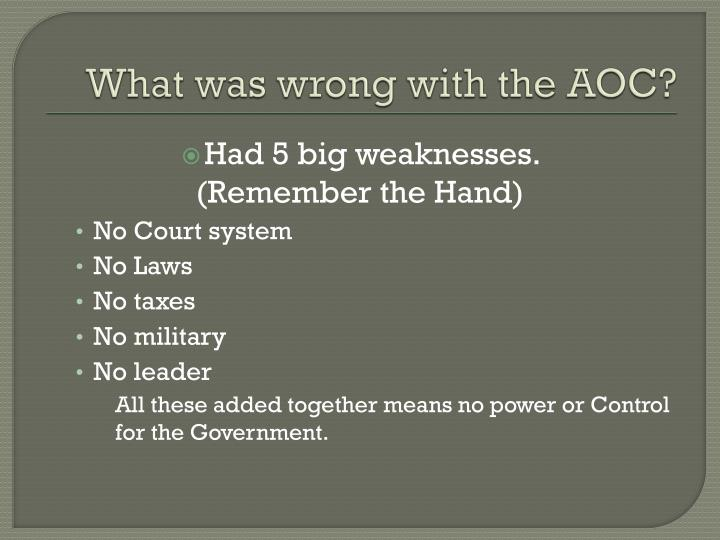 What was wrong with the AOC?