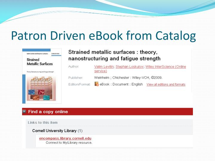 Patron Driven eBook from Catalog