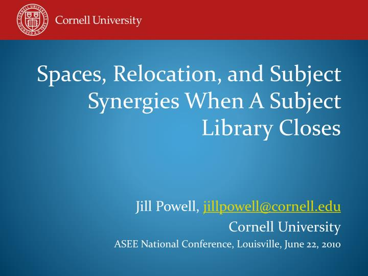 Spaces, Relocation, and Subject Synergies When A Subject
