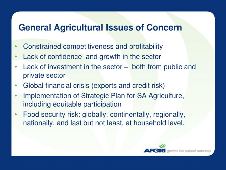 General Agricultural Issues of Concern