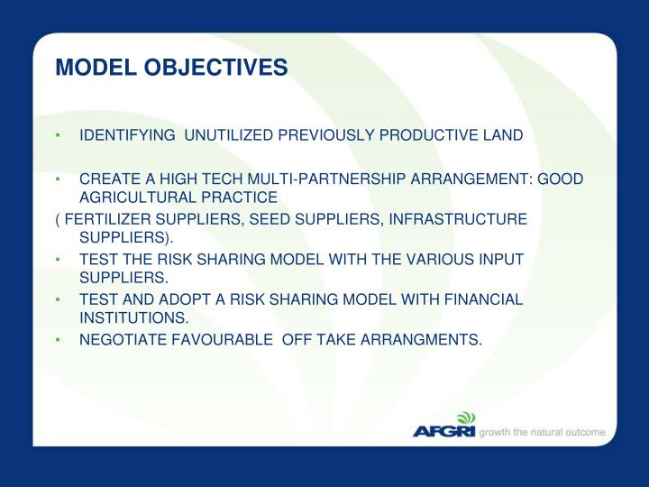 MODEL OBJECTIVES