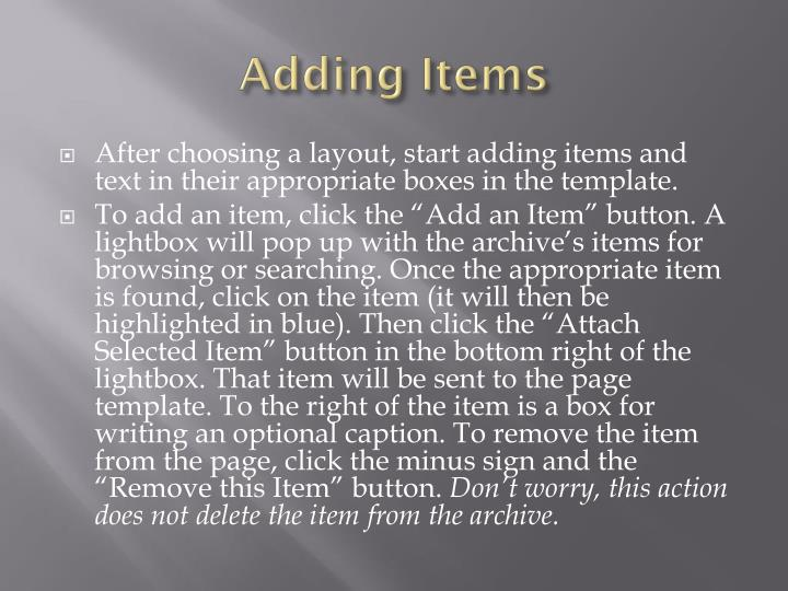 Adding Items