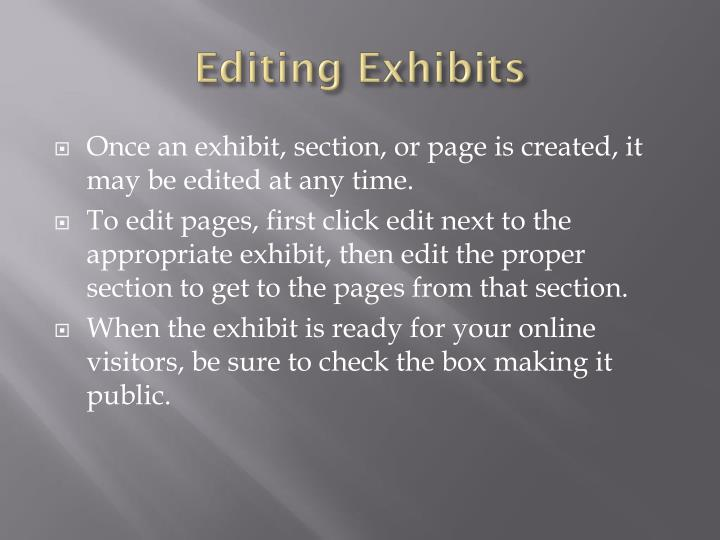 Editing Exhibits